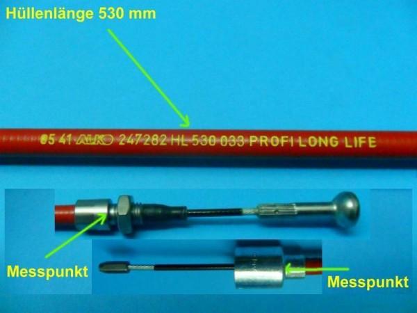 Al-ko Bowdenzug Bremsseil mit Glocke 26 mm und T- Nippel HL530 mm SL726 mm L8530