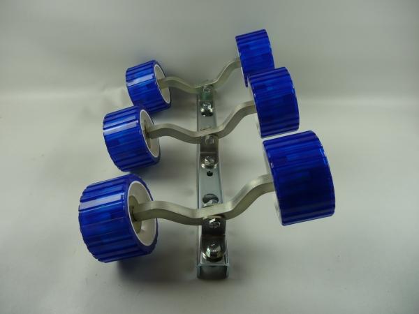 6er Slipwagen Sliprollen Bootsauflage Rolle aus Polyvinyl blau L3080K-3
