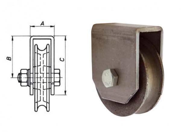 Seilrolle 60 mm Achse 8 mm mit Halter zum Anschweissen SONDERPREIS Neu L0458
