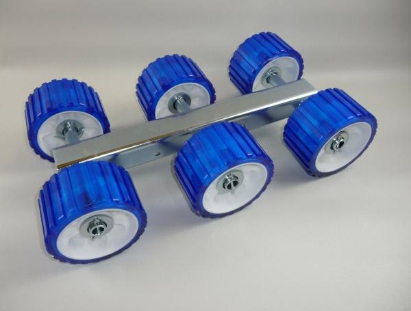 6er Slipwagen Sliprollen Bootsauflage Rolle aus Polyvinyl blau L3088P