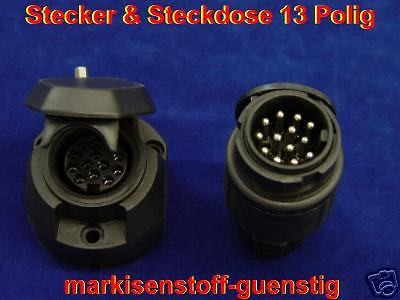 Stecker/Steckdose 13 Polig PVC für Anhänger Kabel L1501