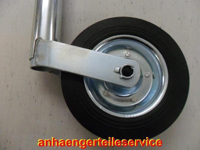 Stützrad Rohr 48 mm Metall verzinkt Stützlast 150kg Vollgummi Rad Neu L4118.2