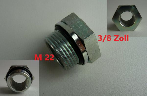"""Druckluftkessel Adapter- Übergang 22 auf 3/8"""" Zoll Metall mit D-Ring NEU L4998.2"""