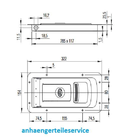 Drehstangenverschluss Verschlussriegel Einbauverschlussteil EDELSTAHL L228561