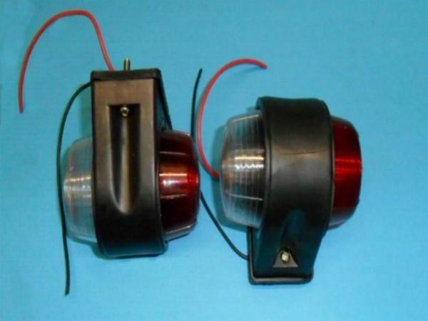 2 Stück Umrissleuchte Markierungsleuchte ROT WEIS mit Leuchtmittel 12V 10W L5005