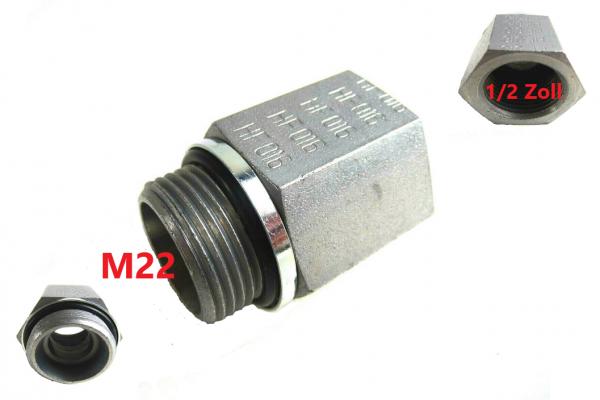 """Druckluftkessel Adapter- Übergang 22 auf 1/2"""" Zoll Metall mit D-Ring NEU L4998"""