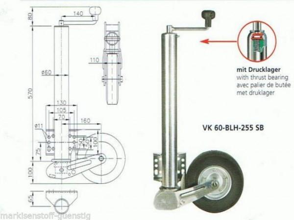 Stützrad Automatisch Klappbar Winterhoff 500 kg 60 mm Rohr mit Drucklager 110060