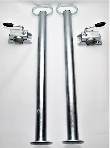 2 Stützen mit Halter 600 mm lang Rohr Ø 48/3 mm NEU L4107S