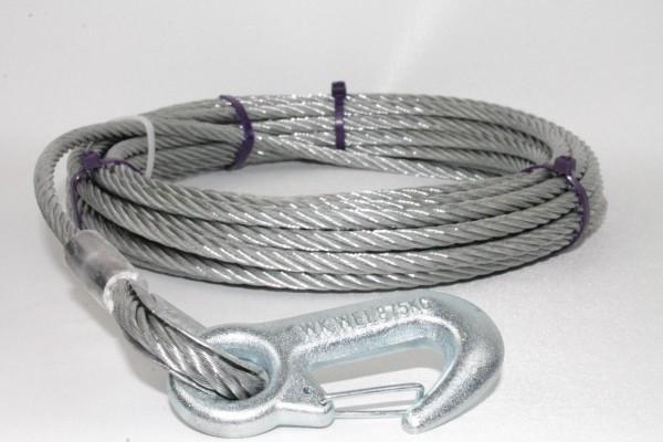 Stahlseil für Seilwinden Drahtseil Seil 15m Ø6mm m. Lasthaken DIN EN 12385 L2750.15