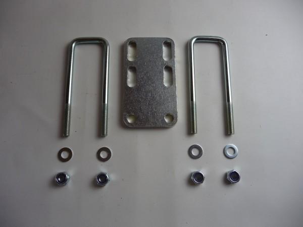 Montagekit für Vierkantrohr für Rahmen 120mm Klemmplatte inkl. Bügelschrauben 155x75 mm L103S