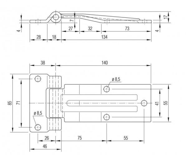 Scharnier Heckklappen Scharnier Türscharnier zum anschrauben verzinkt L631324