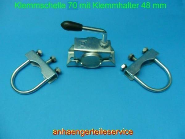 Rohrdeichselhalter Klemmschelle 70 mm Ø. M10 verz. für Stützen Stützrad L120086H