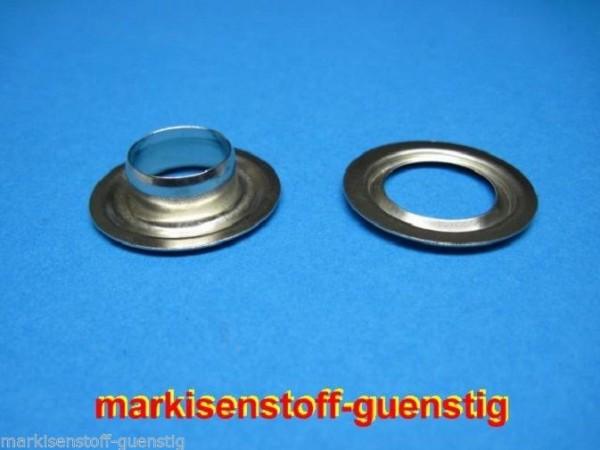 100 Ösen aus Messing 18 mm mit Scheibe vernickelt Neu L9118