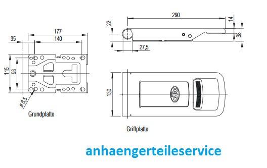 Drehstangenverschluss Aufbauverschlussteil EDELSTAHL Ø27 mm L228511