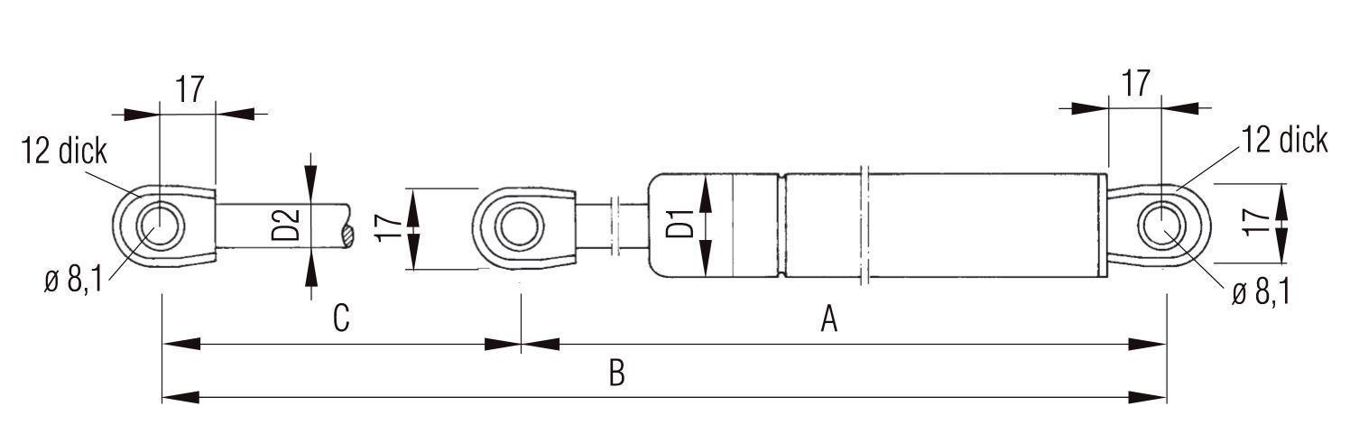 Gasdruckfeder Klappendämpfer Klappenheber Hub=200 Länge 504,5 250N Ø22mm L204010