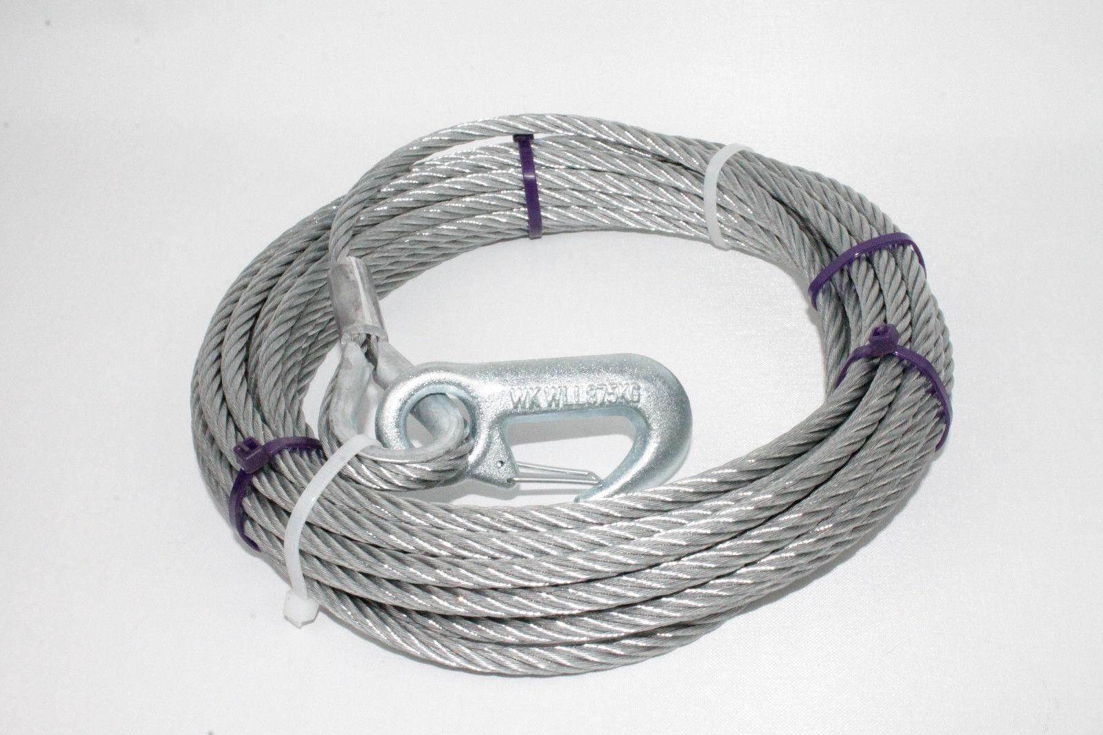 Stahlseil für Seilwinden Drahtseil Seil 12,5m Ø7mm m.Lasthaken DIN12385 L2755.12