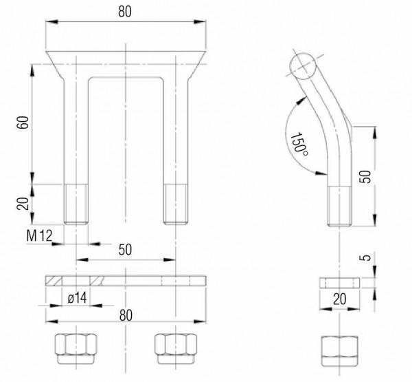 Knott Kugelkupplung K14 A 50 mm Rund Zuglast 1400kg 180156