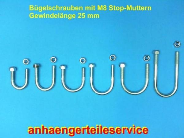 """Bügelschraube M8 1"""" Schraube verzinkt mit Muttern NEU.....UR6536"""