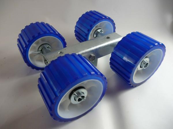 4er Slipwagen Sliprollen Bootsauflage Rolle aus Polyvinyl blau L3080P