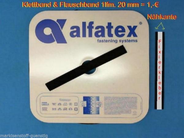 Alfatex Klettband & Flauschband 20 mm breit mit Nähkante Neu L300010