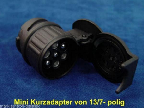 Adapter Kurzadapter für Anhänger Minikurzadapter 13 auf 7polig PKW Steckdosen