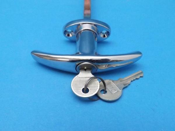 Türgriff verchromt mit Schloss 8 mm vierkant und 2 Schlüssel für Oldtimer L29982