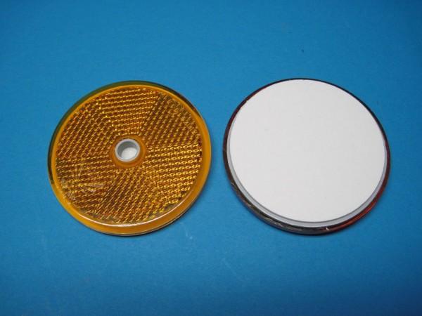 3 Stück Seitenstahler Reflecktor Ø 60 mm Gelb mit Kleberückseite u.Bohrung L1210